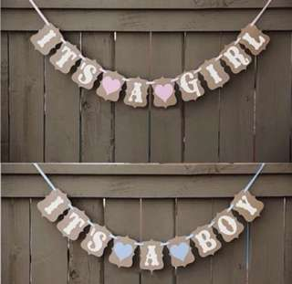 'It's a Boy' 'It's a Girl' Baby Shower Garland