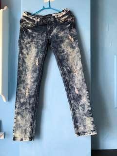 🚚 刷破牛仔長褲(M號)短裙 長䄂 短袖 T恤 毛衣 針織 洋裝 外套 短褲
