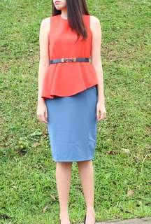Brand New Colour Block Peplum Dress