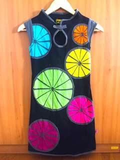 Black Dress with Colorful Design