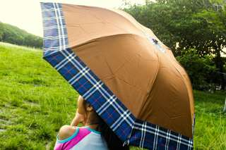 Golden Brown Umbrella (checkered)