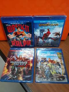 USA Blu Ray - Spiderman Homecoming=$23. Guardians of the Galaxy 2=$28. Wreck it Ralph=$30. Zootopia=$28.