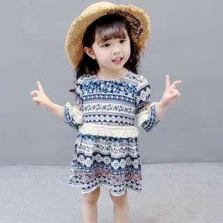可愛女童民俗風洋裝裙