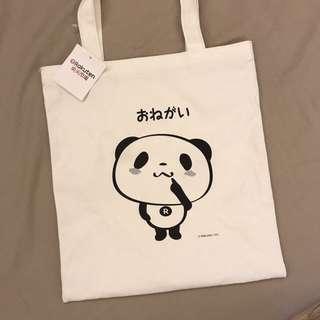 🚚 【全新】樂天市場十週年紀念胖達純棉托特袋 35x31cm