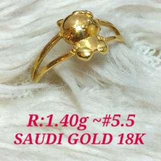 ( size: 5.5 ) 18K SAUDI GOLD RING ''...