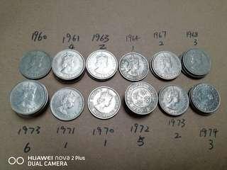 1960-1974香港五毫子 共31個 9@1