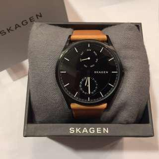 Skagen Holst Multifunction Black Dial Brown Leather Men's Watch