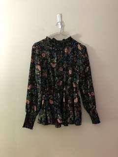 High neck floral blouse