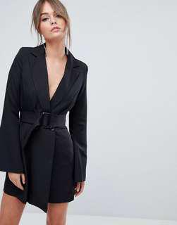 Boohoo flare sleeve tailored blazer dress