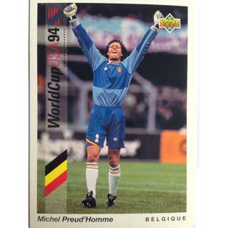 Michel Preud 'Homme (Belgium) - Soccer Football Card #23 - 1993 Upper Deck World Cup USA '94 Preview Contenders