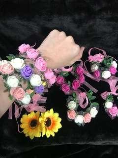 🚚 波西米亞風 花童 花朵 伴娘 新娘 手環 花環 海邊渡假拍照