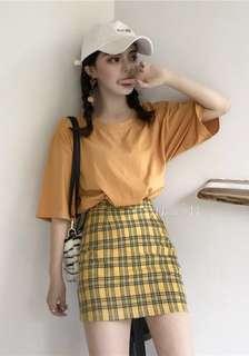 🚚 韓國街頭✨高腰顯瘦格紋A字半身短裙