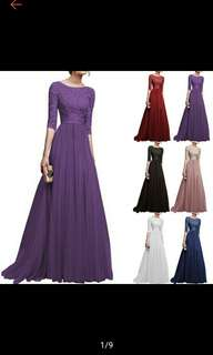 Women Sexy Pretty Long Bridesmaid Dress Party Dress Formal Cocktail Gown (Ships in 7-12days)