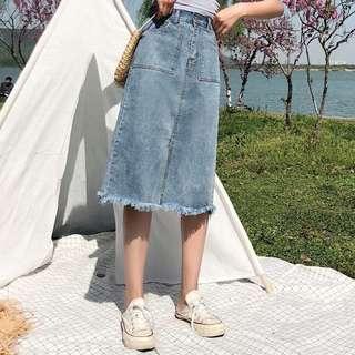 (S~5XL) Summer cowboy skirt female Korean version of the long paragraph high waist a word skirt