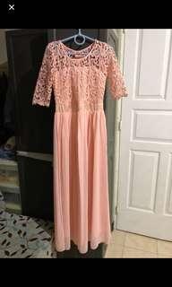 Pink peach long dress