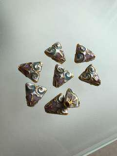 BN Gold-finished copper enamel cloisonné triangle beads