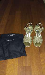 Yves Saint Laurent Tribute Heel Shoes 105 in Gold Glitters