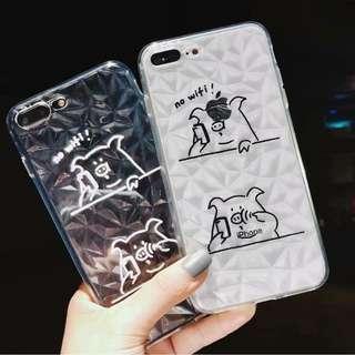 (W)手機殼IPhone6/7/8/plus/X : 創意小豬講電話鑽石紋全包邊透明軟殼