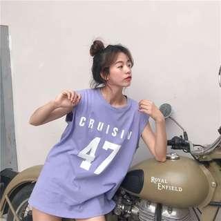 |yuyu預購|韓版無袖寬鬆上衣 簡約字母