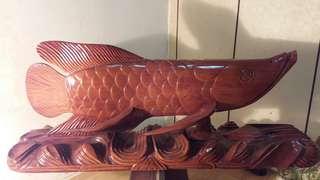 紅龍材雕 長2尺8 高1尺1至1尺