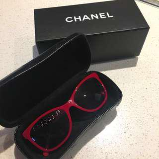 Red Chanel sunglasses