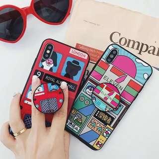 (W)手機殼IPhone6/7/8/plus/X : 日系便利店/英倫巴士配氣囊支架全包黑邊軟殼