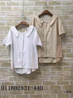 🚚 V領襯衫 顏色 白/杏