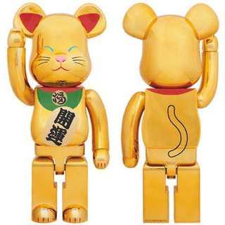 BE@RBRICK 1000% MANEKINEKO 2 (Lucky cat) Gold