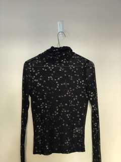 Tight mesh top with glitter stars