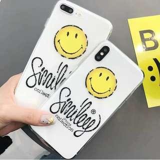 (W)手機殼IPhone6/7/8/plus/X : 韓風笑臉配文字全包邊透明軟殼
