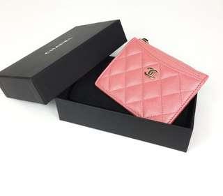 Chanel Zippy Card Holder in Pink SHW