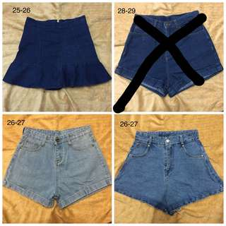 Plain Cut Highwaist Denim Maong Tattered Ripped Shorts