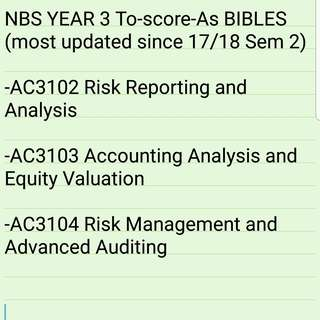 NBS YEAR 3 To-score-As BIBLES (most updated since 17/18 Sem 2)