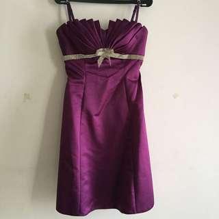 Deep Purple Short Satin Dress