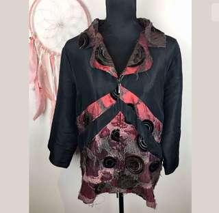 TS Taking Shape sz 16 black red women blazer jacket coat funky plus boho hippy