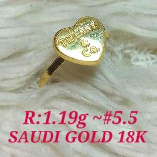( size: 5.5 ) 18K SAUDI GOLD RING  '''.