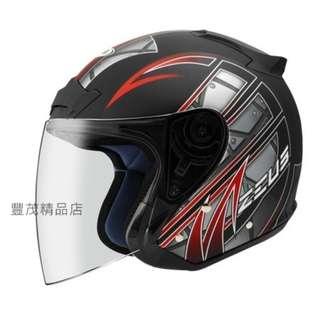 🚚 ZEUS 瑞獅 ZS 609 3/4罩 半罩 內襯全可拆 安全帽 - 消光黑/紅