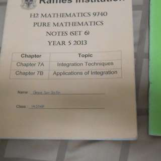 RI Year 5 Notes - Pure Mathematics (2nd Vol - Chap 6,7,9)