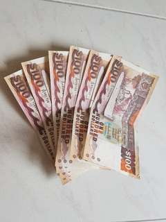 Set of 6 x $100 Singapore notes ship series