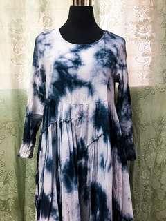 Blue white dress.