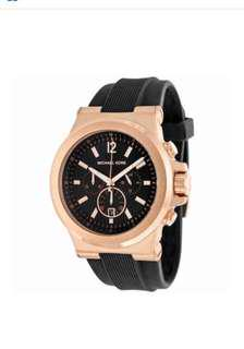New - Michael Kora men's rose gold and black strap watch - Classy
