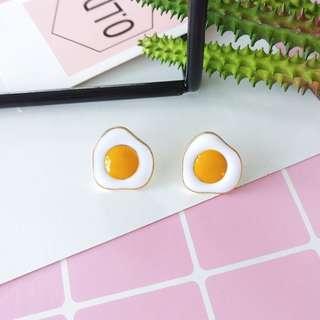 【現貨】荷包蛋雞蛋早餐中餐晚餐消夜耳釘耳環