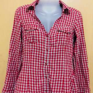 Authentic Mango red checkered polo