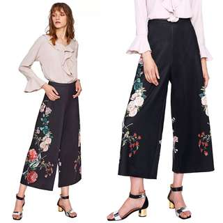 (S~XL) Loose Women Wide Leg Embroidered Trousers
