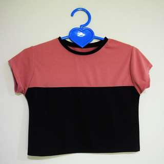 Pink & Black Color-Blocked Cropped Top