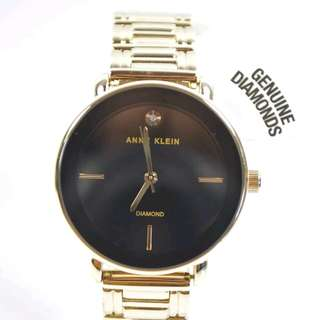FREE SHIP Original Anne Klein Womens Ladies Watch Black dial gold tone