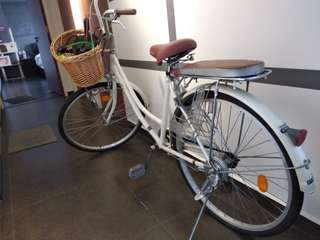 Retro Bike (Flat tire) with basket and backseat
