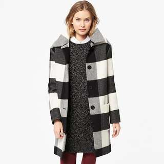 Uniqlo wool blend check cocoon coat XS