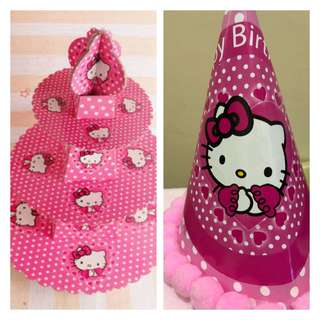 2 Hello Kitty Cupcake Towers and 1 Party Hat