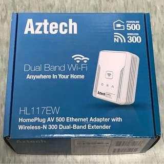 Aztech HL117EW Home Plug 500Mbps Ethernet 300Mbps Wireless